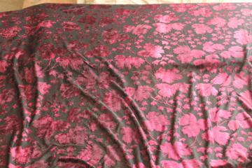 90s vintage fabric, stretch sheer burnout velvet black w/ burgundy wine shades