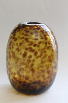 90s vintage glass vase, tortoise shell or leopard print pattern in amber / brown
