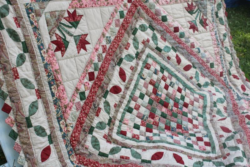 90s vintage hand stitched cotton quilt, queen size bedspread w/ flowers & vines