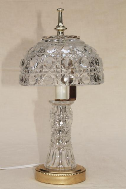 90s Vintage Heavy Crystal Clear Glass Table Lamp Vase Base W Bowl