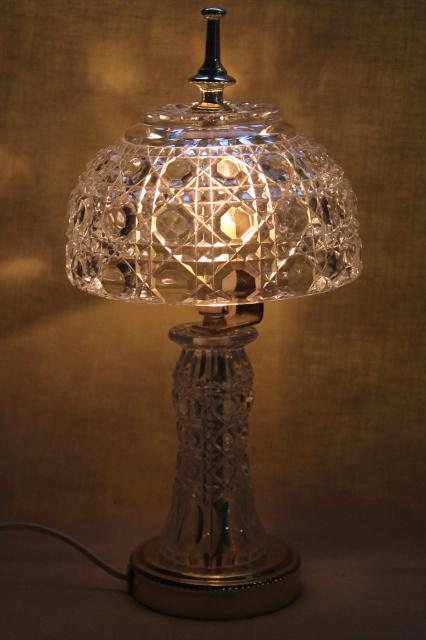 90s Vintage Heavy Crystal Clear Glass Table Lamp Vase