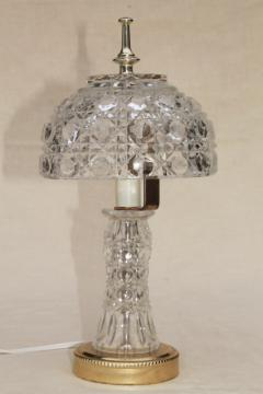 90s vintage heavy crystal clear glass table lamp, vase base w/ bowl shaped lamp shade