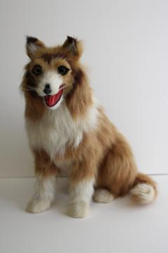 90s vintage real fur large collie dog, statue or figurine (not a toy) made in China