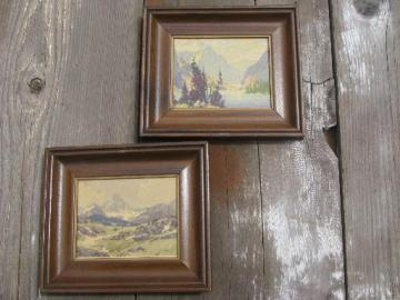 A C Leighton Canadian Rockies oil or watercolors, framed miniature prints