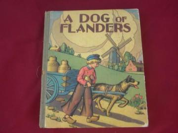 A Dog of Flanders, 1920s vintage illustrated child's book litho cover