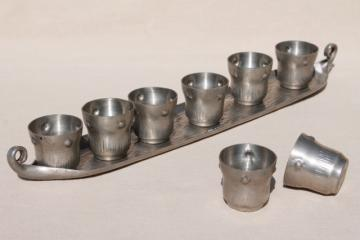 A E Chanal French art nouveau vintage pewter tray & glasses, jugendstil period