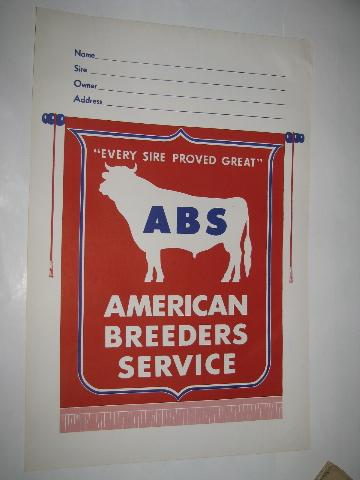 ABS American Breeder's Service sign w/ bull, for show cow stall