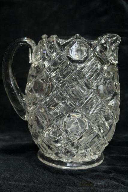 APG antique crystal clear glass water pitcher, Richmond buttons & bars pattern Fostoria Ohio