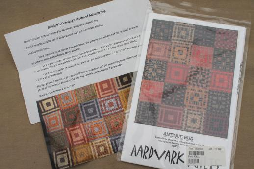 Aardvark Quilts patchwork quilt kit fabric & pattern for antique rug quilt