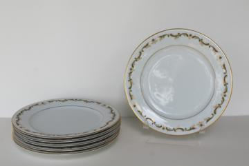 Aberdeen green border pattern vintage Noritake china salad plates, set of 6