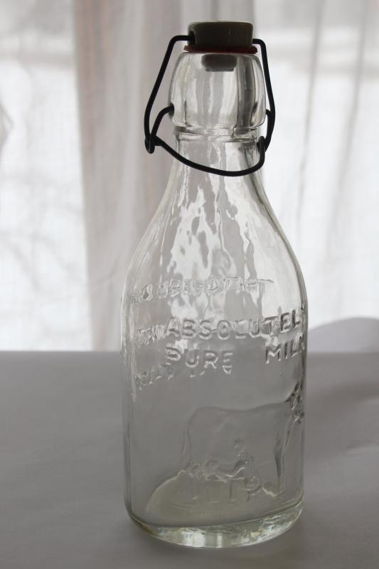 Absolutely Pure Milk glass dairy bottle, 80s vintage antique reproduction w/ bail top