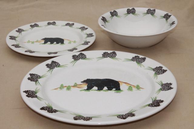 Acrita pottery dinnerware rustic pine cones black bear pattern ceramic dishes & pottery dinnerware rustic pine cones black bear pattern ceramic dishes