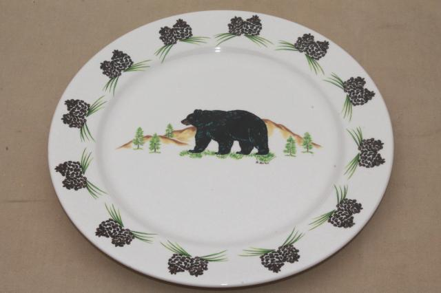 Acrita pottery dinnerware rustic pine cones black bear pattern ceramic dishes & Acrita pottery dinnerware rustic pine cones black bear pattern ...
