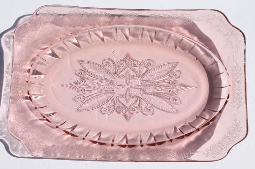Adam Pattern Pink Depression Glass Platter Or Tray 1930s