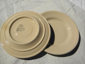 Adobe ware brown restaurant ironstone, sandwich plates, vintage Syracuse china