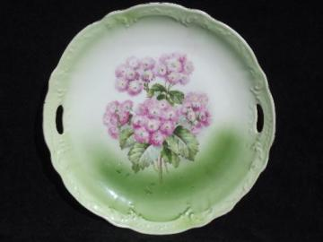 Ageratum flower vintage china tray or serving plate, old floral china
