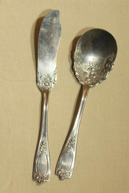 Alaska pattern silverware serving pieces, ornate antique silver plate flatware