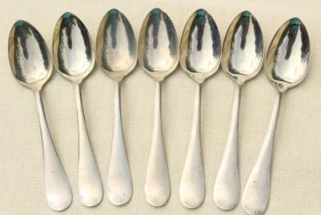 Alaska silver plate flatware, plain elegant antique teaspoons or ice cream spoons
