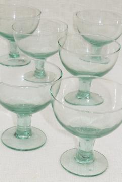 Albi Eco friendly glass margarita cocktail glasses, pale green recycled glass made in Spain