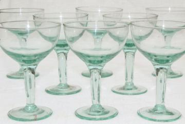 Albi Eco friendly glass wine or cocktail glasses, pale green recycled glass made in Spain