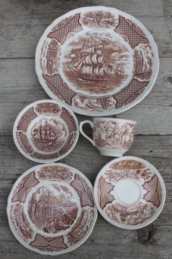 4 Alfred Meakin Fair Winds Brown Bread~Dessert Plates Ships
