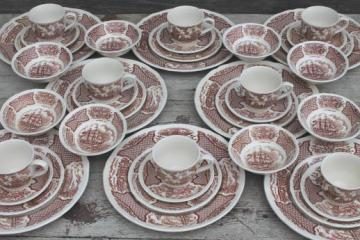 Alfred Meakin Fair Winds vintage brown transferware china set for 8, tall ships sailing