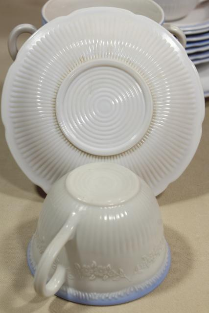 Alice blue / ivory Anchor Hocking Fire King cups & saucers dinner plate, 1940s vintage