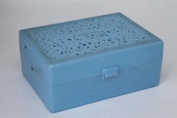 Alice blue plastic jewel box sewing box or jewelry chest, 1950s vintage