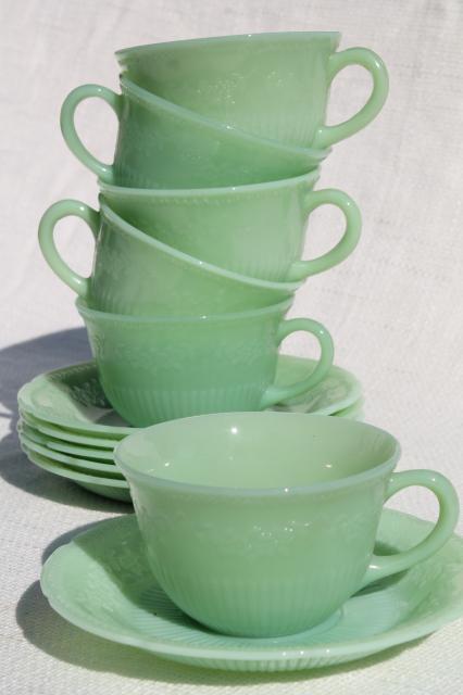 Alice Jadeite Glass Cups Amp Saucers Vintage Fire King