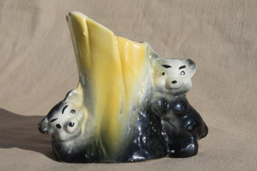 American Bisque vintage pottery planter, baby black bears on tree stump