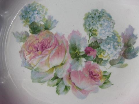American Limoges china antique vintage cake or bread plates, roses & hydrangeas w/ luster