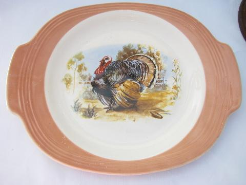 American Limoges vintage china platter, Thanksgiving turkey