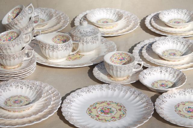 American Limoges vintage gold filigree Toledo delight sand yellow floral china tea set for 6
