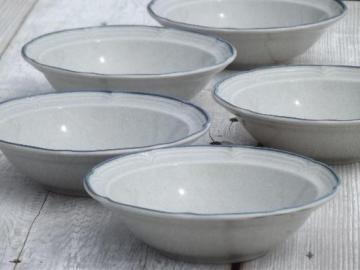 American Patchwork plain soup bowls, International Heritage stoneware Japan