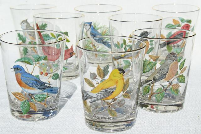 American Song Birds Set Vintage On The Rocks Glasses West