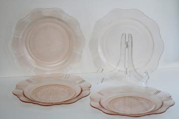 American Sweetheart vintage pale pink depression glass dinner plates set of four