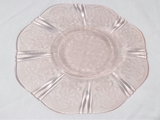American Sweetheart Vintage Pink Depression Glass Cake Platter / Chop Plate