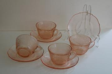 American Sweetheart vintage pink depression glass cups & saucers set of four