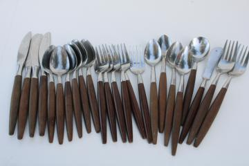 American Tempo vintage stainless flatware w/ rosewood melamine handles Canoe muffin style