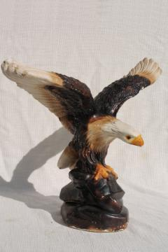 American bald eagle vintage chalkware statue, painted plaster figure made in Mexico