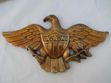 American eagle, vintage federal patriotic wall plaque, chalkware w/ antique gold