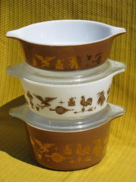 American heritage eagle pattern Pyrex casseroles set w/ glass covers