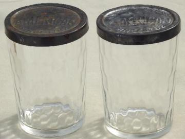 American snuff jars, vintage glass snuff bottles w/ embossed metal lids
