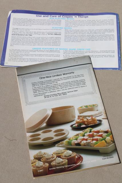 Anchor Hocking AnchorWare microwave cookware plastic Microware instructions & recipes