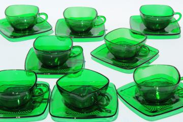 Anchor Hocking Charm cup and saucers, forest green glass, retro 1950s glassware