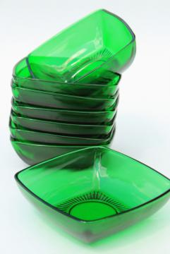 Anchor Hocking Charm square bowls, forest green glass fruit/ ice cream dishes