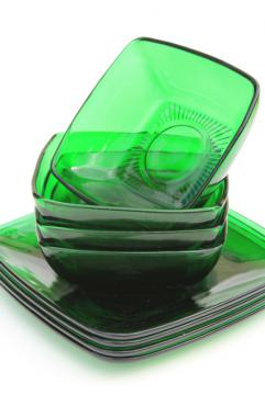 Anchor Hocking Charm square plates & bowls, forest green glass, retro 1950s glassware