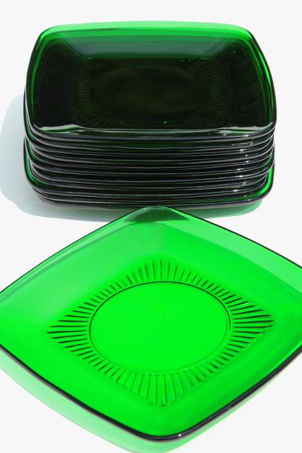 Anchor Hocking Charm square plates forest green glass retro 1950s glassware & Anchor Hocking Charm square plates forest green glass retro 1950s ...
