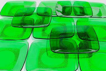Anchor Hocking Charm square plates, forest green glass, retro 1950s glassware
