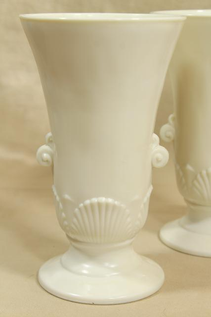 Anchor Hocking Fire King ivory vitrock seashell vases pair, art deco vintage